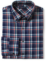 Lands' End Men's Tall Traditional Fit Forewind Twill Shirt-Dark Bay Blue Plaid