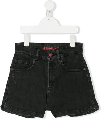 Zadig & Voltaire Kids TEEN logo-printed denim shorts