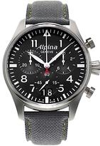 Alpina Al-372b4s6 Startimer Pilot Big Date Chronograph Fabric Strap Watch, Grey/black