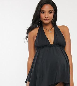 ASOS DESIGN maternity floaty tankini in black