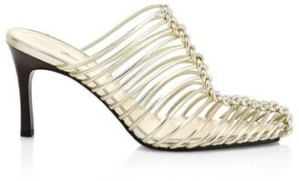3.1 Phillip Lim Sabrina Cage Metallic Leather Mules