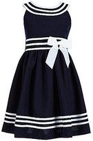 Bonnie Jean Big Girls 7-16 Nautical U-Neckline Bow Dress