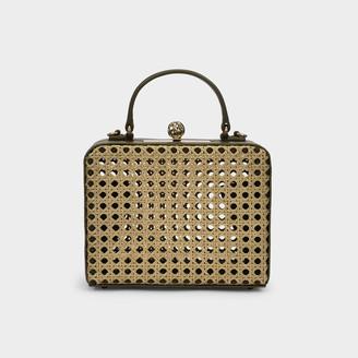MEHRY MU Luna Mini Box Bag In Kaki Green Leather And Rattan
