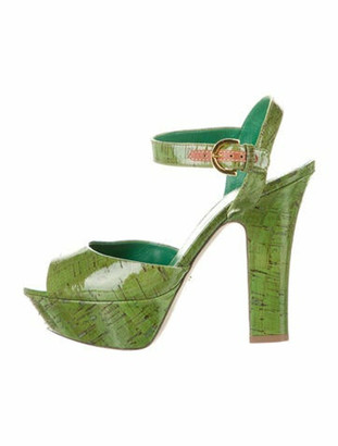 Sergio Rossi Patent Leather Sandals Green