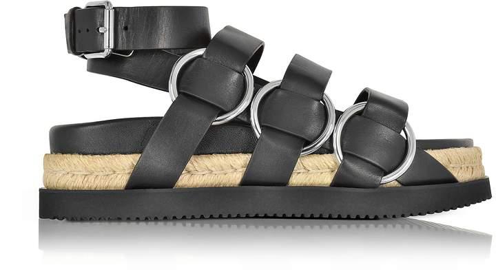 Alexander Wang Bess Black Leather Sandal w/Metal Rings