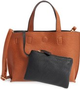 Street Level Reversible Faux Leather Crossbody Mini Tote & Wristlet