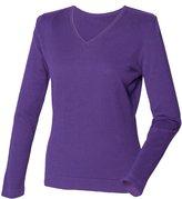 Henbury Womens/Ladies 12 Gauge Fine Knit V-Neck Jumper / Sweatshirt (M)