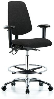 Blue Ridge Ergonomic Drafting Chair Ergonomics Upholstery Color: Black, Casters/Glides: Casters, Customization: Included
