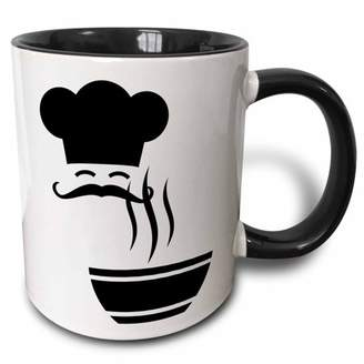 3drose 3dRose Silhouette of Chef and Steaming Soup, Two Tone Black Mug, 11oz
