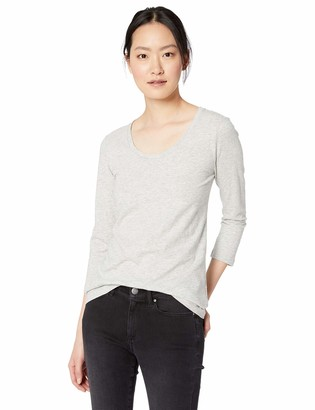 Daily Ritual Women's Lived-in Cotton Slub 3/4-Sleeve Scoop Neck T-Shirt