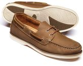 Charles Tyrwhitt Tan Fowey boat shoes