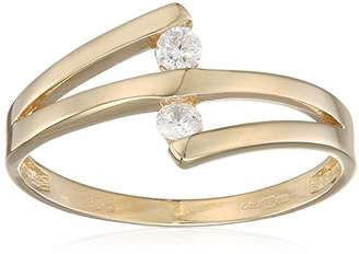 N. Citerna Women's 9 ct Yellow Gold Tension Set Two Cubic Zirconia Crossover Ring, Size