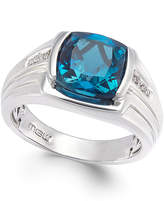 Macy's Men's Blue Topaz (5 ct. t.w.) and Diamond Accent Ring in Sterling Silver