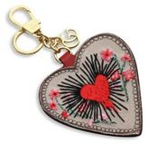 Gucci Embroidered Leather Heart Keychain