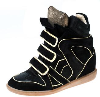 Isabel Marant Black Suede Leather Bekett Sneakers Size 38