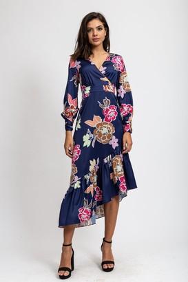 Liquorish Asymmetric Midaxi Dress in Navy Floral Print with Fucshia Matching Piping