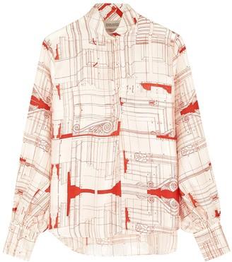 Mark Kenly Domino Tan Basha ivory printed silk blouse
