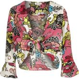 River Island Girls red floral print cover-up