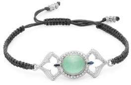 Armenta New World Diamond & Gemstone Doublet Open Oval Braided Bracelet