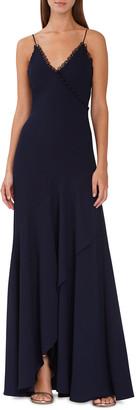 ML Monique Lhuillier Loop-Lace Trim Wrapped Gown