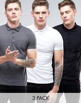 Asos 3 Pack Jersey Polo Shirt In Black/White/Charcoal Marl