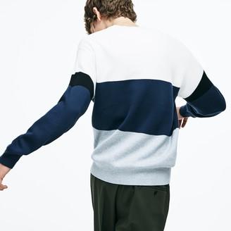 Lacoste Men's Crew Neck Colorblock Flat Ribbed Cotton Sweater