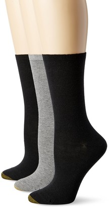 Gold Toe Women's Non-Binding Flat Knit Crew Sock 3-Pack