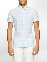 Calvin Klein Slim Fit Voile Plaid Short Sleeve Shirt