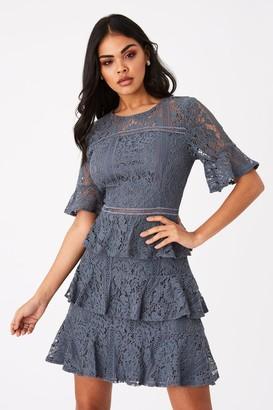Girls On Film Bibi Slate Grey Tiered-Lace Shift Dress