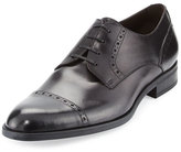 Ermenegildo Zegna Leather Cap-Toe Derby Shoe, Black