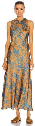 ASCENO The Valencia Dress in Caramel Leaf | FWRD