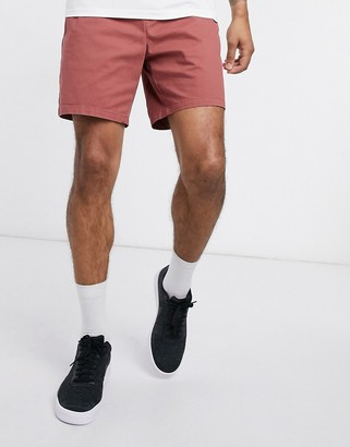 ASOS DESIGN oversized slim chino shorts with elastic waist in washed red