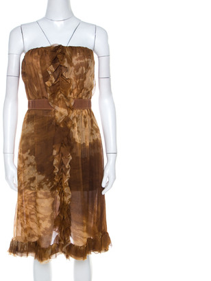 Dolce & Gabbana Brown Batik Printed Silk Chiffon Strapless Cocktail Dress M