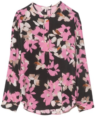 Dorothee Schumacher Floral Graphics Blouse in Pink Flowers on Black
