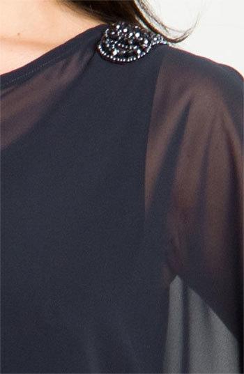 Xscape Evenings Plus Size Women's Beaded Cold Shoulder Dress