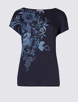 Per Una Floral Print Satin Front T-Shirt