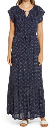 Caslon Print Flutter Sleeve Maxi Dress