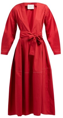 Marios Schwab On The Island By Fornells Belted Cotton Midi Dress - Womens - Red