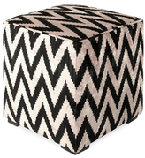 Found Object Chevron Square Pouf