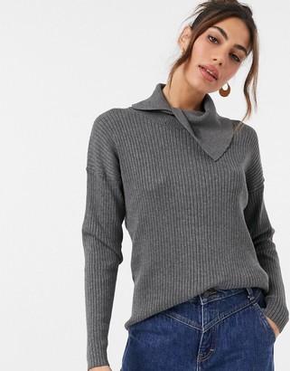 Y.A.S knit jumper co-ord with asymmetric collar in dark grey