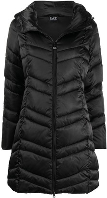 EA7 Emporio Armani Chevron-Quilted Hooded Coat