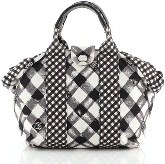 Chanel Top Handle Satchel Gingham Print Canvas Small