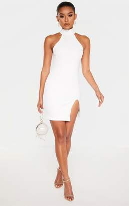 PrettyLittleThing White Bandage Rib High Neck Cup Binding Bodycon Dress