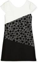 Zoë Ltd Contrast Tricolor Polka-Dot Dress, Size 7-16