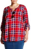 Daniel Rainn Roll Sleeve Plaid Blouse (Plus Size)