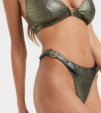 Wolfwhistle Wolf & Whistle Exclusive tanga bikini bottom with buckles in shimmer