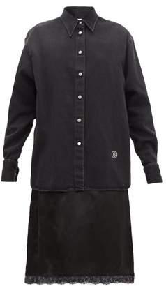 MM6 MAISON MARGIELA Denim And Satin-slip Midi Dress - Womens - Black