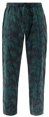 Desmond & Dempsey Byron Print Cotton Pyjama Trousers - Mens - Navy Print