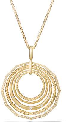 David Yurman Stax Long Pendant 18K Necklace with Diamonds, 41mm
