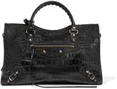 Balenciaga Classic City Croc-effect Leather Tote - Black